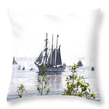 Tall Ship Tswc Throw Pillow by Jim Brage