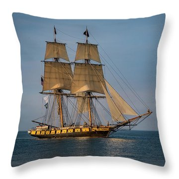 Tall Ship U.s. Brig Niagara Throw Pillow