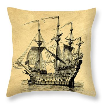 Throw Pillow featuring the drawing Tall Ship Vintage by Edward Fielding