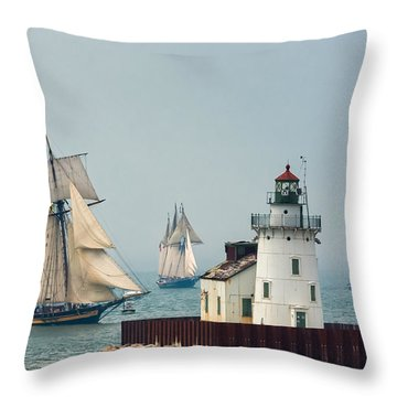 Tall Ships At Cleveland Lighthouse Throw Pillow
