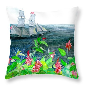 Tall Ships In Victoria Bc Throw Pillow