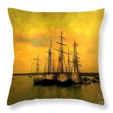 Tall Ships Of Dana Point Throw Pillow by Kevin Moore