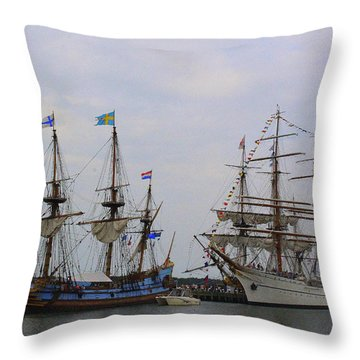 Historic Tall Ships Hermione And Sagres Throw Pillow