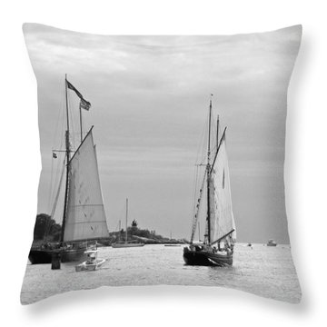 Tall Ships Sailing I In Black And White Throw Pillow