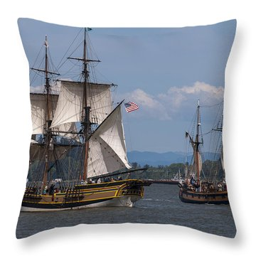 Tall Ships Square Off Throw Pillow