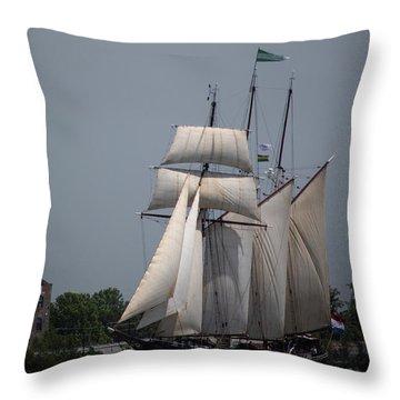 Tall Ships To Nola Throw Pillow
