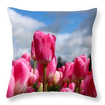 Tall Standing Tulip Throw Pillow