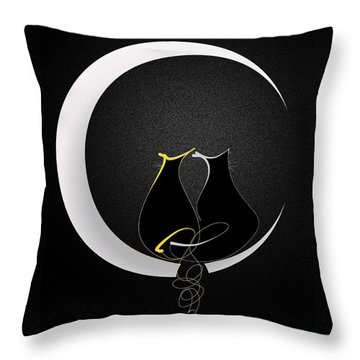 Throw Pillow featuring the mixed media Talleycats - Moonglow by Larry Talley