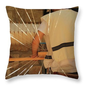 Jewish Prayer Shawl Weaving In Tzfat Throw Pillow by Yoel Koskas