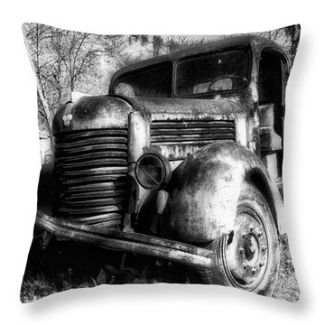 Tam Truck Black And White Throw Pillow by Marko Mitic