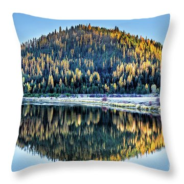 Tamarack Glow Idaho Landscape Art By Kaylyn Franks Throw Pillow