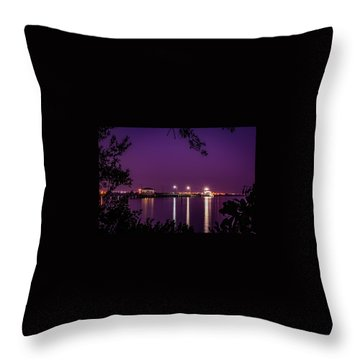 Tampa Bay Fishing Pier Throw Pillow