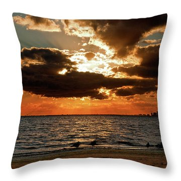 Tampa Bay Sunset Throw Pillow by Christopher Holmes