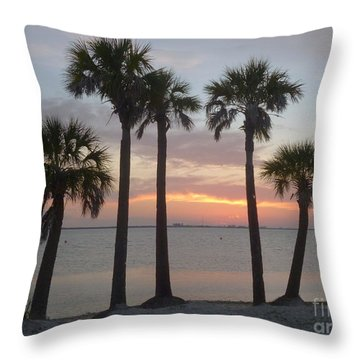 Tampa Bay Sunset Throw Pillow by Gail Kent