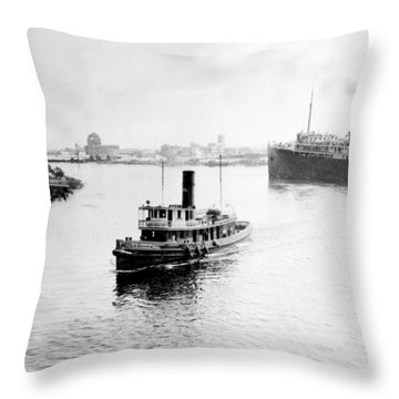 Tampa Florida - Harbor - C 1926 Throw Pillow