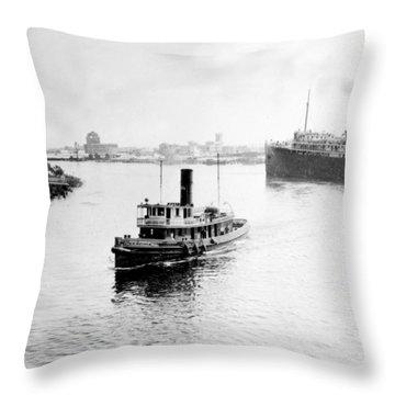 Tampa Florida - Harbor - C 1926 Throw Pillow