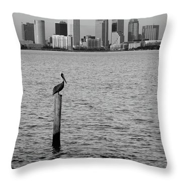 Tampa Skyline And Pelican Black And White Throw Pillow