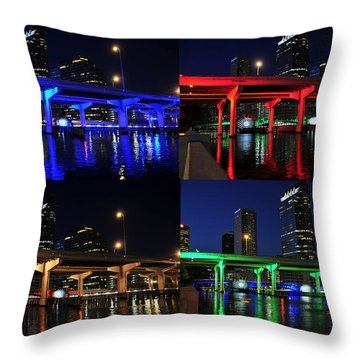 Throw Pillow featuring the photograph Tampa's Colorful Bridges by David Lee Thompson