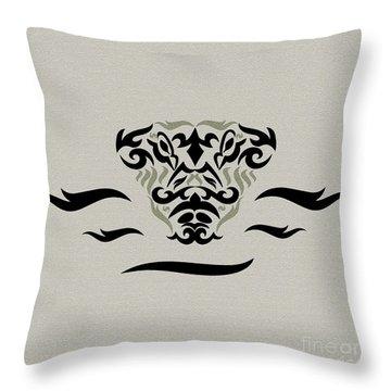 Tan Tribal Gator Throw Pillow