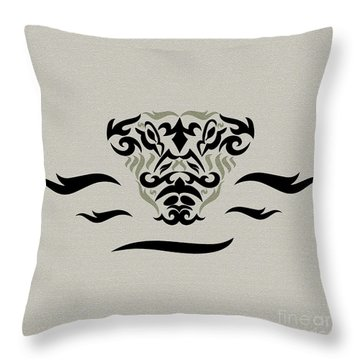 Tan Tribal Gator Throw Pillow by Megan Dirsa-DuBois