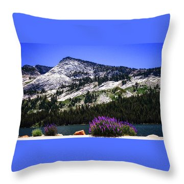 Tanaya Lake Wildflowers Yosemite Throw Pillow