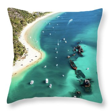 Tangalooma Wrecks Throw Pillow by Peta Thames