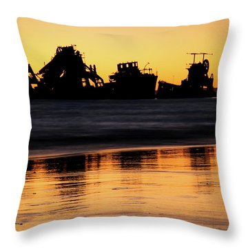 Tangalooma Wrecks Sunset Silhouette Throw Pillow