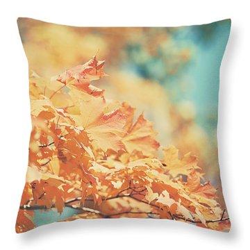 Tangerine Leaves And Turquoise Skies Throw Pillow by Lisa Russo