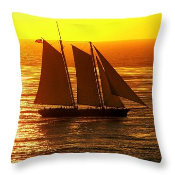 Tangerine Sails Throw Pillow by Karen Wiles