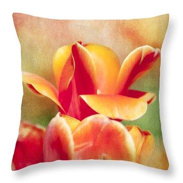 Tangerine Tulip Sorbet Throw Pillow