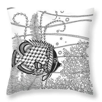 Tangle Fish II Throw Pillow