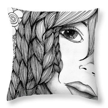 Tangle Lady Throw Pillow by Delein Padilla