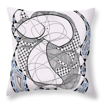 Tangle Monster Drawing Throw Pillow
