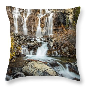 Tangle Waterfall On The Icefield Parkway Throw Pillow