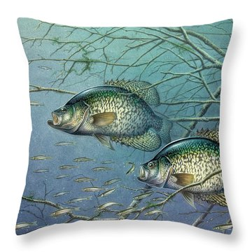Tangled Cover Crappie II Throw Pillow