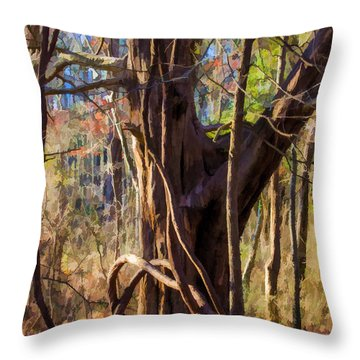 Tangled Vines On Tree Throw Pillow