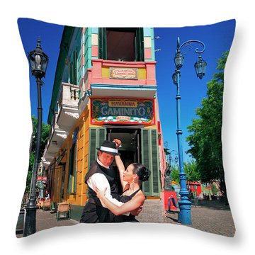 Throw Pillow featuring the photograph Tango At Caminito by Bernardo Galmarini