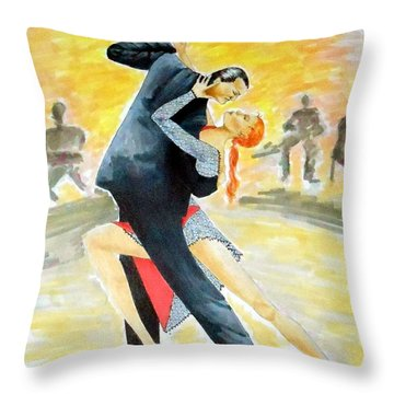 Tango Tangle -- Portrait Of 2 Tango Dancers Throw Pillow