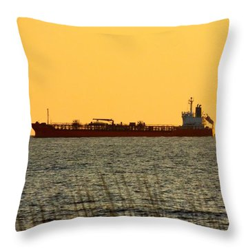 Tanker At Sunrise Throw Pillow
