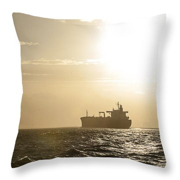 Tanker In Sun Throw Pillow