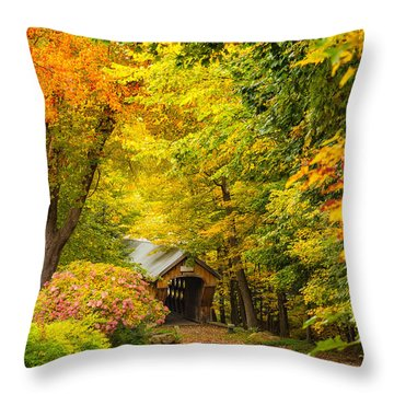 Tannery Hill Covered Bridge Throw Pillow