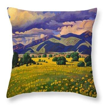 Taos Fields Of Yellow Throw Pillow