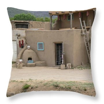 Taos Pueblo Adobe House With Pots Throw Pillow