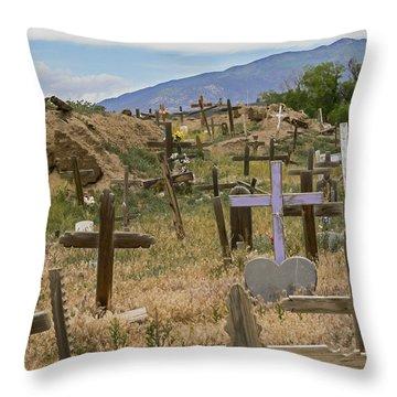 Taos Pueblo Cemetery Throw Pillow