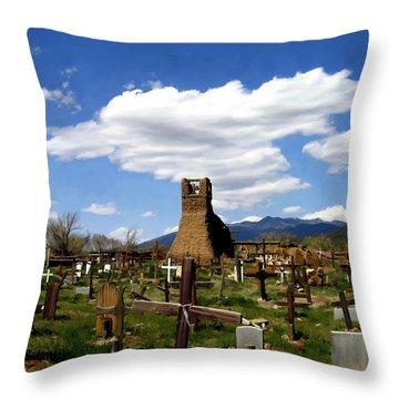 Taos Pueblo Cemetery Throw Pillow by Kurt Van Wagner