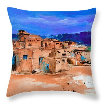 Taos Pueblo Village Throw Pillow