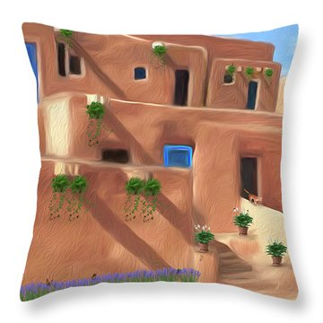 Taos Pueblo With Flowers Throw Pillow