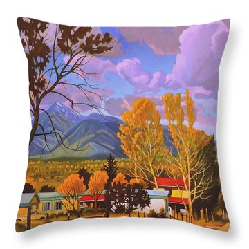 Taos Red Roofs Throw Pillow