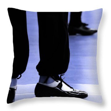 Tap Dance In Blue Are Shoes Tapping In A Dance Academy Throw Pillow