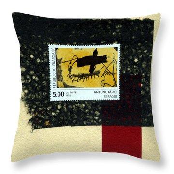 Tapies Stamp Collage Throw Pillow